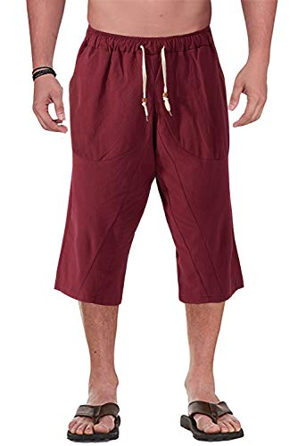 FASKUNOIE Men's 3/4 Harem Pants Casual Linen Cotton Trousers with Pockets Wine Red ()