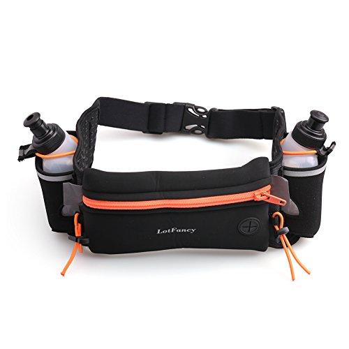 LotFancy Running Fuel Belt with Water Bottle (BPA Free) - Hydration Belt for Women and Men - Runners Waist Pack for Marathon, Race, Fits iPhone 6 Plus, 7, 7 Plus - Belt Race Running