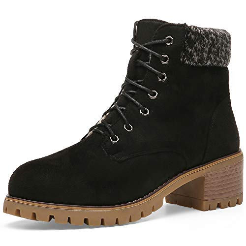 Orkii Women's Winter Short Boots Faux Suede Chunky Heel Booties 19NXOR03-10, W41-black&khaki
