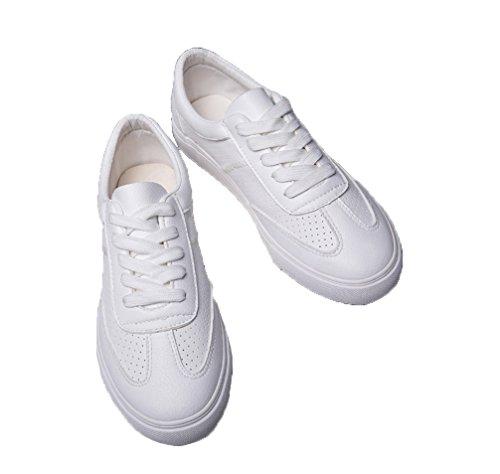 Damen Weiß Rutsch Skate VECJUNIA Top Low Flache Classic Sneakers Anti Schnürschuh Sgdvdq