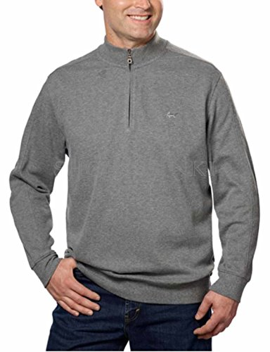 (Greg Norman Mens Contemporary Ribbed 1/4 Zip Mock Neck Sweater (X-Medium, Grey Heather))
