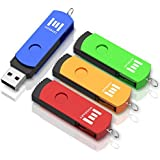 16GB USB 2.0 Flash Drive 4 Pack, A Set of 16 GB 360° Rotation Thumb Drives with Keychain, 16gig Multipack Jump Drive for Computer (Multicolor) by MOSDART