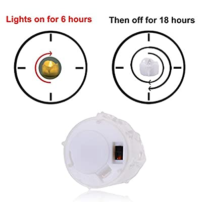 Timer Candles, 12pcs PChero Battery Operated LED Flameless Candles Flickering Tea Light, 6 Hours On and 18 Hours Off Per Cycle, Perfect for Birthday Wedding Party Home Decor - [Warm White] ¡