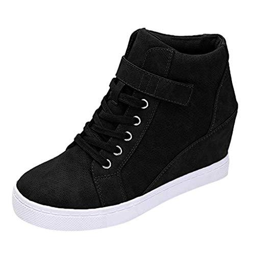Rmeioel Women Ladies Winter Warm Solid Increase Wedges Heightening Flat Short Boots Booties Casual Shoes