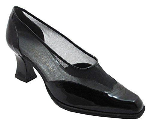 DA'VINCI 8804 Women's Italian Dressy Low Heel with Mesh Summer Shoes Black Size 37 by Unknown