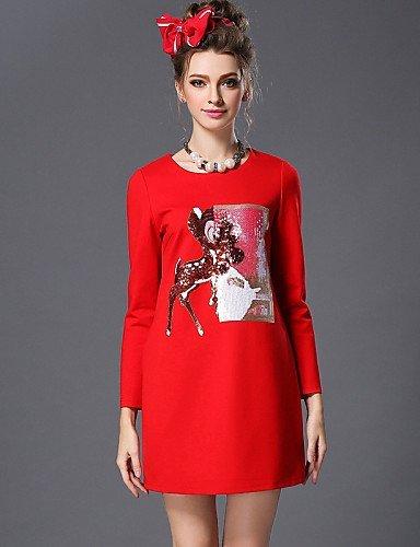 GSP-Damen Kleid - Übergrößen Übergröße / Party Solide / Patchwork Übers Knie Baumwolle / Nylon / Elasthan Rundhalsausschnitt