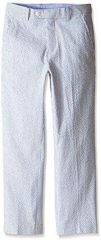Nautica Big Boys' Seersucker Stripe Pant, Medium Blue, (Seersucker Flat Front Pants)