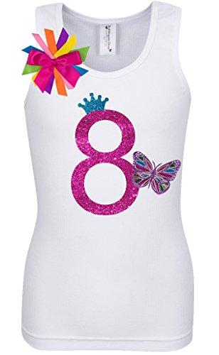 Birthday Diva T-shirt (Bubblegum Divas Big Girls 8th Birthday Rainbow Butterfly Shirt)