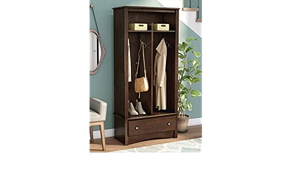 Amazon.com: Hall Trees with Bench and Coat Racks - Espresso Wood with Four Hooks Two Cubbies and Lower Drawer - Organizing Your Space with Sophistication: ...