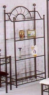 Sunburst Wrought Iron Style Glass Bakers Rack Etagere 4 Shelf Glass Bakers Rack