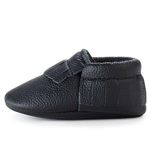 BirdRock Baby Moccasins - 30+ Styles for Boys & Girls! Every Pair Feeds a Child (US 5.5, Black)