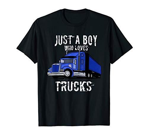 Kids Semi Truck T Shirt Gift Just a Boy Who Loves Trucks