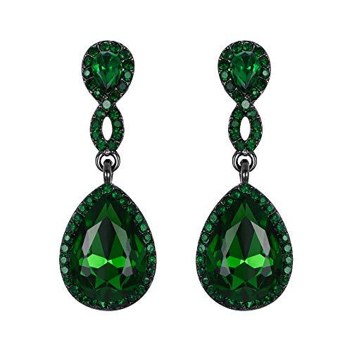 EVER FAITH Women's Rhinestone Crystal Elegant Wedding 8-Shaped Teardrop Pierced Dangle Earrings Green Black-Tone
