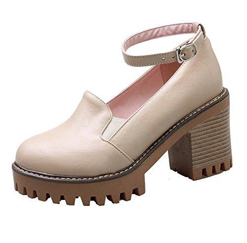 VogueZone009 Damen PU Hoher Absatz Rund Zehe Rein Schnalle Pumps Schuhe Aprikosen Farbe