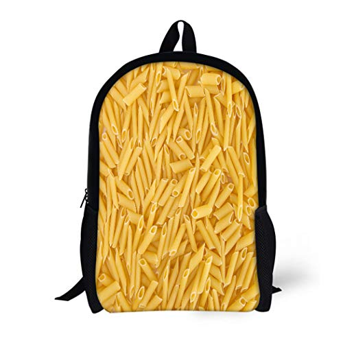 Pinbeam Backpack Travel Daypack Yellow Rigate Penne Pasta Dry Macaroni Close Closeup Waterproof School Bag - Vegetarian Penne Pasta