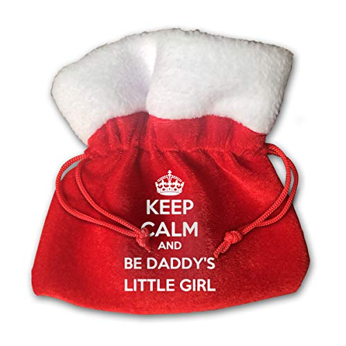 Be Daddy's Little Girl 6x6 Inches Red Drawstring Velvet Holiday Party Christmas Favor Gift Bags