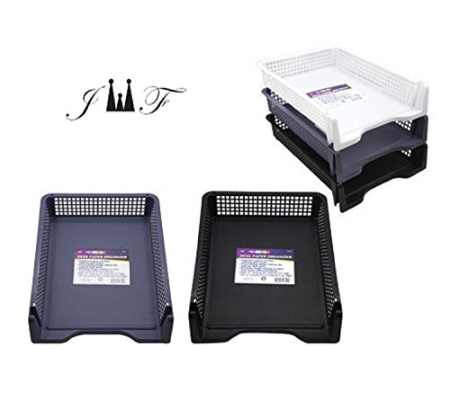 Capacity High Letter Tray (5 Tier Stack-able Desk Organizer, Sturdy Plastic Desktop Paper File Document Letter Holder, Compartment Sorter Tray. White, Gray, Black Ideal for Home, Office, School Workstation)