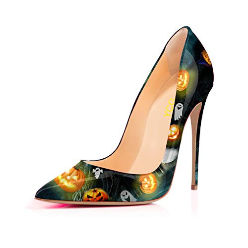 YCG Women's High Heels Party Wedding Pumps Black Halloween Pumpkin Tattoo Printing Slip on Shoes US 9