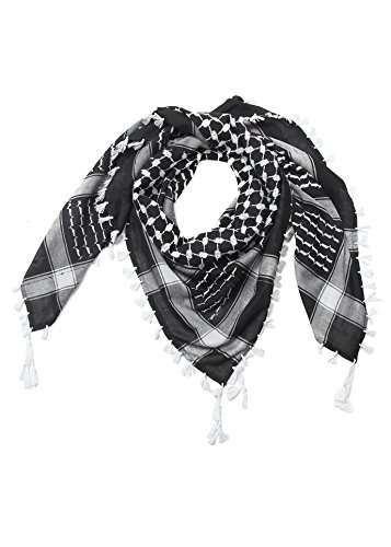 Merewill Premium Original Arabic Scarf 100% Cotton Shemagh Keffiyeh 49'x49' Arab Scarf White Black