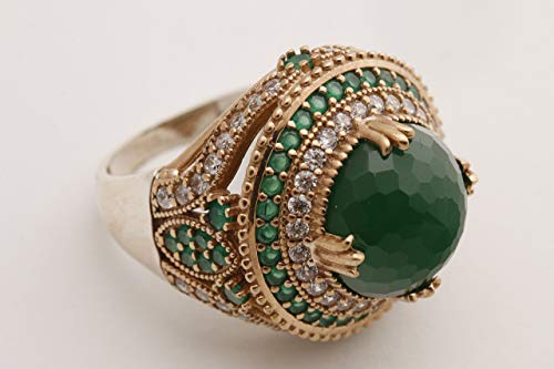 Turkish Ottoman Style Sultan's Collection Jewelry Round Shape Emerald and Round Cut Topaz 925 Sterling Silver Ring Size All