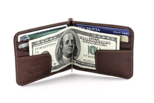 Mens Money Clip Bifold Wallet Slim Minimalist Card Case Pockets Italian Leather (Italian Wallet Slim Credit Card)