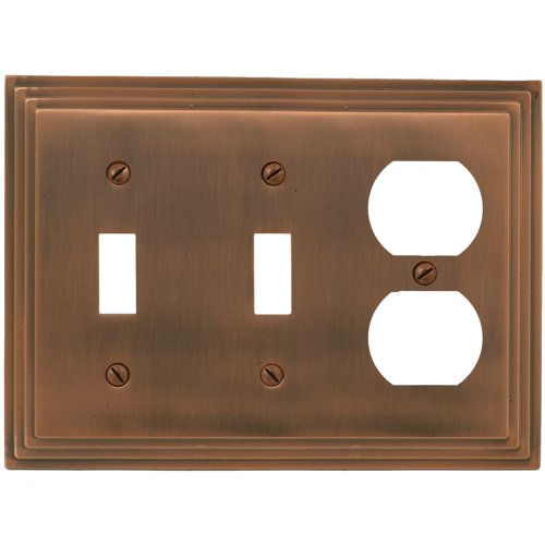 Amerelle Steps Double Toggle/Single Duplex Cast Metal Wallplate in Antique -