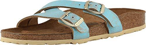 (Birkenstock Women's Yao Sandal Washed Metallic Aqua Leather Size 37 N)