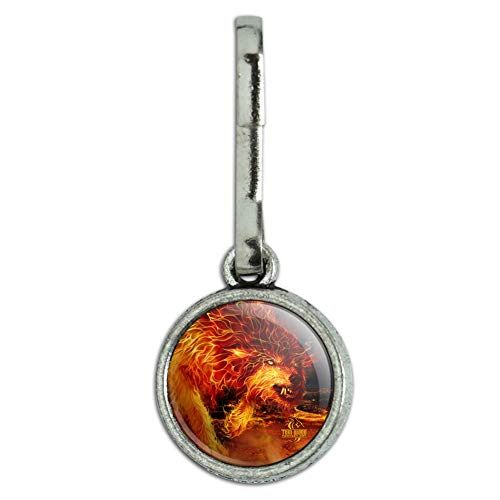 GRAPHICS & MORE Fire Wolf Flaming Stalker Creature Antiqued Charm Clothes Purse Suitcase Backpack Zipper Pull Aid