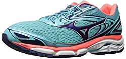 Mizuno Running Women's Wave Inspire 13 Shoes, Blue Radianceblueprintfiery Coral, 9 B Us