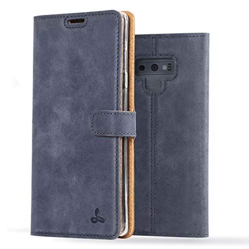 (Samsung Galaxy Note 9 Case, Luxury Genuine Leather Wallet with Viewing Stand and Card Slots, Flip Cover Gift Boxed and Handmade in Europe by Snakehive for Samsung Galaxy Note 9 - Navy)