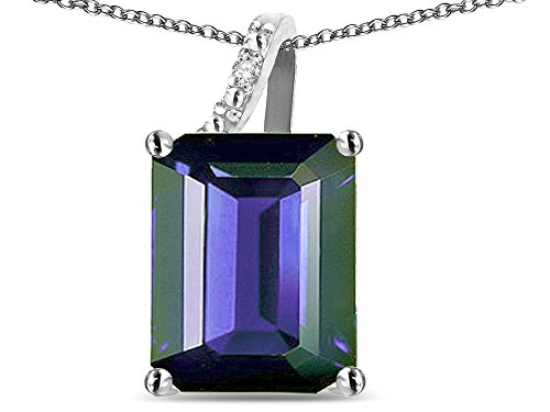 Star K Large 10x8 Octagon Emerald Cut Genuine Iolite Pendant Necklace 10 kt White Gold ()