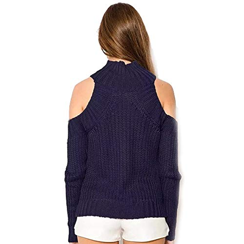 Molif Women Turtleneck Off Shoulder Knitted Sweater Tricot Pullover Jumpers Sexy Oversized Sweater Navy Blue One Size ()