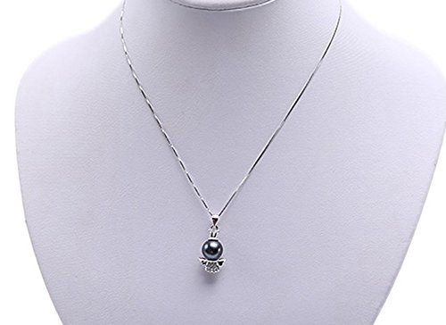 JYX Pearl AAA Quality 10.5mm Round Black Tahitian Cultured Pearl Pendant Necklace for Women