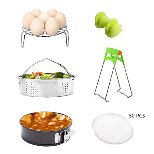 Instant Pot Accessories Set/Non-stick Springform Pan, Including Steamer Basket/Egg Steamer Trivet (Steaming Stand)/50 Pcs Parchment Paper/Cooking Mitts/Dish Clip Fits 5,6,8Qt Instant (AP-02)