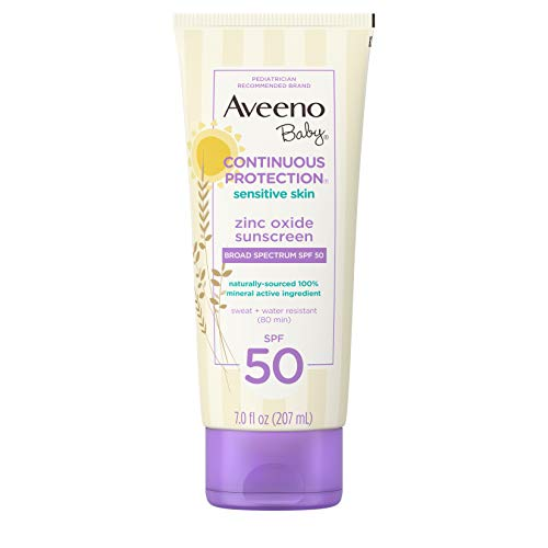 Aveeno Baby Continuous Protection Zinc Oxide Mineral Sunscreen Lotion for Sensitive Skin with Broad Spectrum SPF 50, Tear-Free, Sweat- & Water-Resistant, 7 fl. oz ()