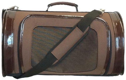Handbag Fur Trimmed Tote - Petote Kelle Pet Carrier Bag, Large, Chocolate