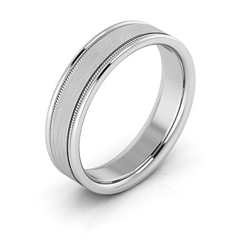 Platinum 5mm raised edge with milgrain comfort fit men's & women's wedding bands, 8