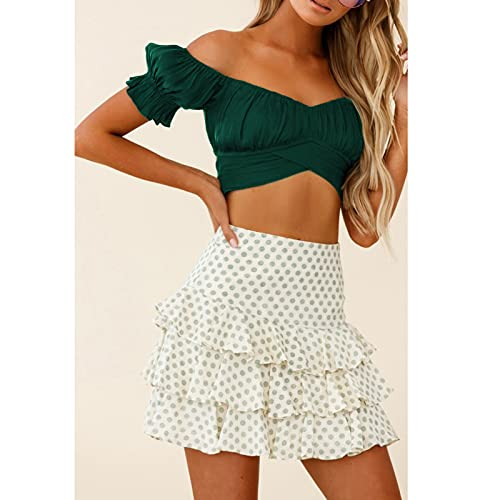 Puff Sleeve Top, 2021 Women's Ruffle Short Sleeve Off The Shoulder Blouse Tie Up Back Crop Top Blouse (Army Green_10,S)