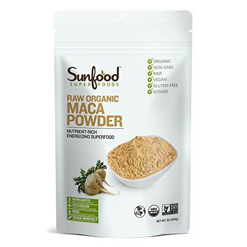 Maca Powder 16 Oz Bag (Sunfood Maca Powder, 1lb, Organic, Raw)