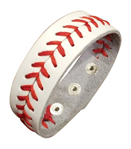 (White Leather Baseball Seam Bracelet Large, 8.25