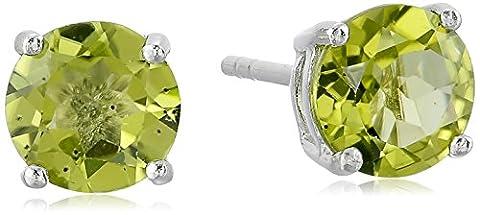 Sterling Silver 7 mm Gemstone Round Stud Earrings,Peridot - Peridot Gemstone Round Shape