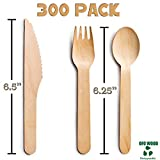 Wood set cutlery biodegradable-disposable-eco friendly-100 wooden forks-100 knives-100 spoons-For Parties, Picnics, Events & Weddings – Durable & Environmentally Safe