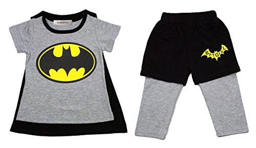 StylesILove Baby Kids Girl Batgirl Costume T-shirt with Cape and Shorts (1-2 Years) (2)