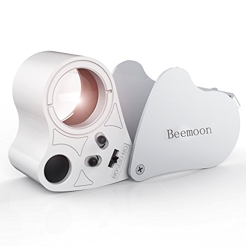 Beemoon Jewelry Magnifier, 30 X 60X Illuminated Jewelry Loupe for Gems Jewelry Rocks Stamps Coins Watches Antiques Models Photos