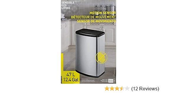 Amazon.com: EKO - [CW2236MT-47L 47L/12.4G Fingerprint-Resistant Stainless Steel Motion Sensor Trash Can: Home & Kitchen