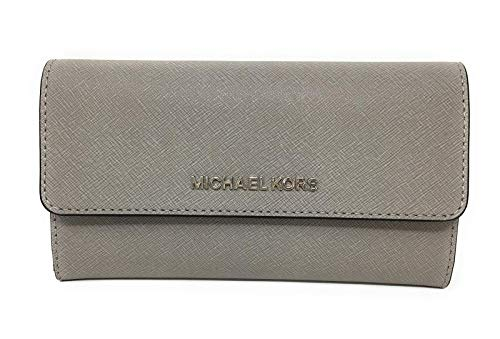 Set Leather Wallet - Michael Kors Jet Set Travel Large Trifold Leather Wallet (Pearl Grey/Black)
