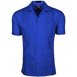 TrueM - Camisa de Manga Corta para Hombre, Azul Royal, XX-Large