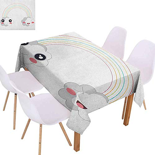 Washable Table Cloth Anime Two Clouds and a Rainbow Happy Face Expressions Japanese Design for Kids Nursery Party W54 xL84 Multicolor Great for Buffet Table