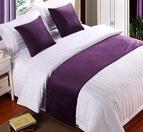 Mengersi Solid Velvet Bed Runner Scarf Protector Slipcover Bed Decorative Scarf for Bedroom Hotel Wedding Room (King, Purple)