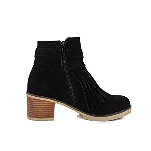 Closed Women's Round Toe Zipper Suede Boots Imitated Black Heels WeiPoot Top Kitten Low tqdgwqnA